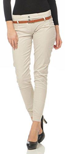 Malito Damen Chino Hose inkl. Gürtel | Stoffhose mit Stretch | lässige Freizeithose | Skinny - elegant 5396 (beige, S)