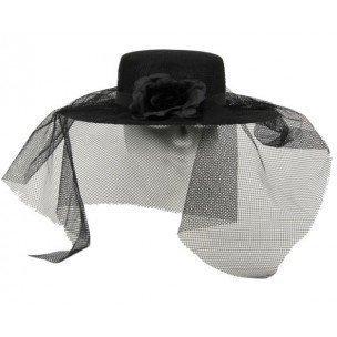 Schwarzer Damenhut mit Schleier (Schwarze Witwe Kostüme Für Kinder)