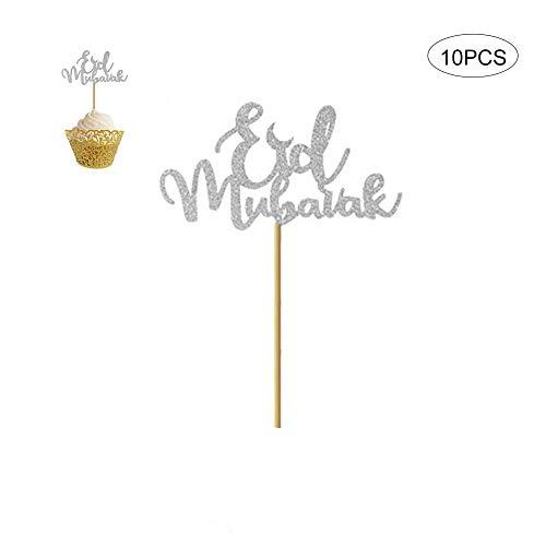 Muslim Islam Eid Mubarak Festival Cupcake Flagge Food Pick bevorzugt Vorräte für Geburtstags Hochzeit Party Dekor (Gold und Silber) ()