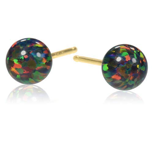 Ohrstecker, 14 kt Gold, Opal, rund, 5 mm (Ball 14k Ohrringe Gold Stud Solid)