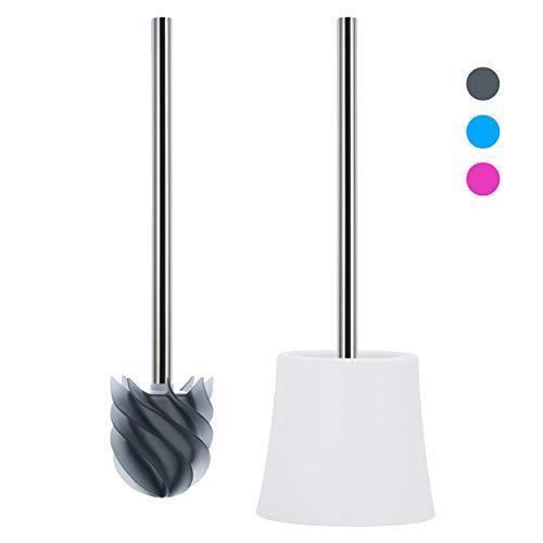LOOMAID Silikon WC Bürste mit Lotuseffekt, Klobürste Silikon - Made in Germany - Toilettenbürste mit weißem Halter (Grau)