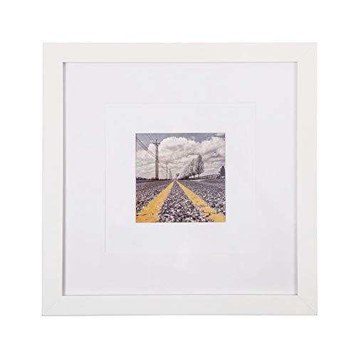 Muzilife Holz-Bilderrahmen 8 x 8/12 x 12 cm - flaches Profil - 4 Stück - für Bilder 4x4 mit Matte oder 8x8 ohne Matte 12x12 weiß (Bild-frame-hund Vertikale)