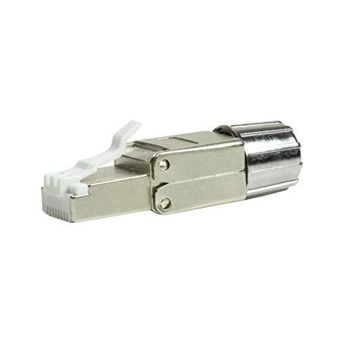 LogiLink MP0080-CAT MP0080 feldkonfektionierbarer RJ45 Stecker CAT 8.1-EconLine, Grau, Edelstahl, - Wiederverwendbare Zugentlastung