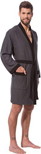 97a3f333fc Morgenstern Kimono Bademantel Herren Grau Kurzbademantel Hausmantel Männer  leicht kurz dünn weich Viskose Microfaser Baumwolle Mann Größe S