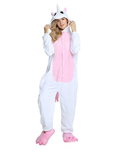 Tier Karton Kostüm Einhorn PyjamaTierkostüme Jumpsuit Erwachsene Schlafanzug Unisex Cosplay XL(Höhe175-182CM) Hellrosa - Unisex Kostüme Karneval