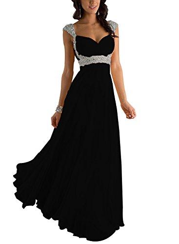 Erosebridal Formal Chiffon Lange Brautjungfernkleider Abendkleid DE 54W Schwarz