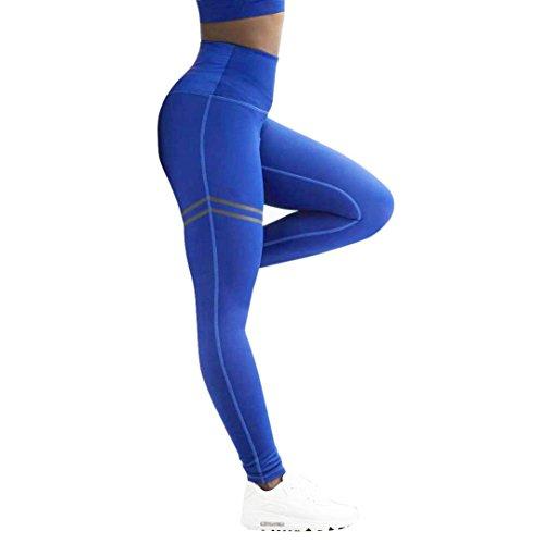 38-taille 29 Bein (Yoga Hosen Damen, Sannysis Frauen Sport Hosen Hohe Taille Yoga Fitness Leggings Lauf Gym Stretch Hosen Schwarz Blau Rot (S, Blau))