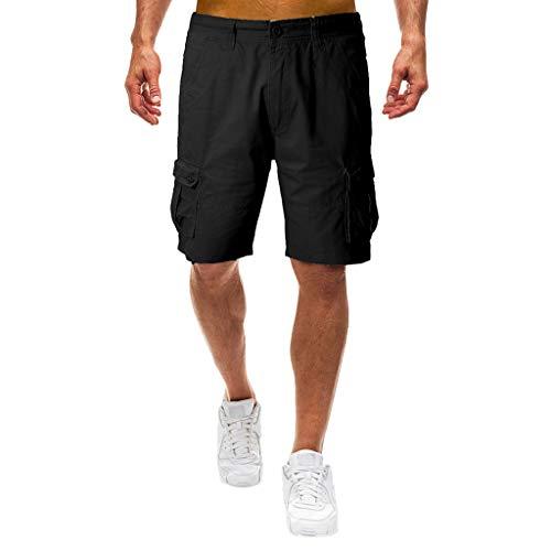 Cargo Shorts Herren Chino Kurze Hose Sommer Bermuda Sport Jogging Training Stretch Shorts Fitness Vintage Regular Fit Sweatpants Baumwolle Qmber Lockere lässige Hose Mehreren Taschen(Black,36) -