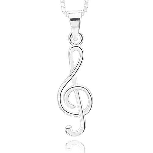 MunkiMix 925 Plata Colgante Collar Música Símbolo Musical Nota Elegante Pulido Mujer ,Plata Cadena 46cm