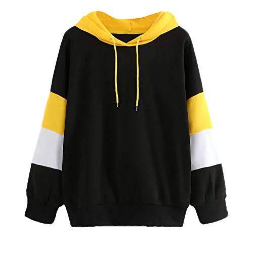 iYmitz Damen Langarm Hoodie Sweatshirt Hipster Pullover mit Kapuze Pullover Tops Bluse(Schwarz 2,XL)