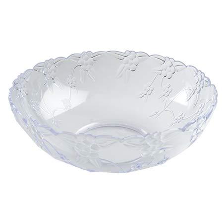 Elegante große Kunststoff-Servierschüssel mit Kristallschliff, Salatschüssel, Blumenmuster, 25 cm, 2,7 l