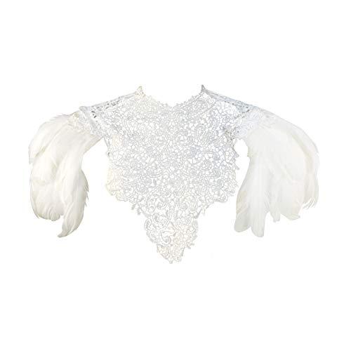 Homelex Gothic Schwarz Federn Wedding Lace Cape Shawl Kragen Umhang Wing Pad (White-SL) - White Lace Kleid