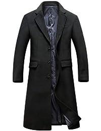 YiiJee Uomo Casuale Single Breasted Tinta Unita Trench Coat Caldo e  Confortevole Lungo Trincea Cappotto vestibilità 162c138be80
