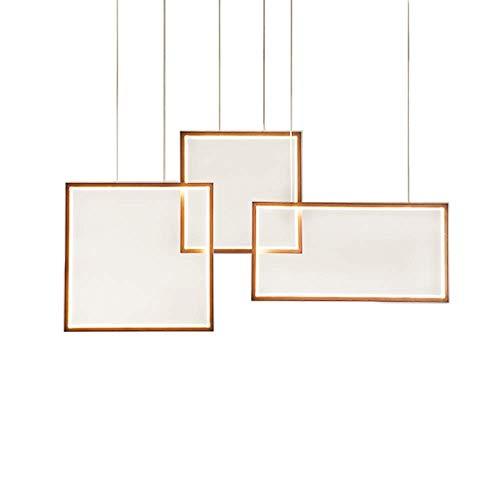 LQUIDE LED Pendelleuchte Dimmbar mit Fernbedienung Pendelleuchte Kücheninsel Bar Esstisch Loft Wohnzimmer Moderner Kronleuchter 3 quadratische Ringe Design Höhenverstellbar, Braun -