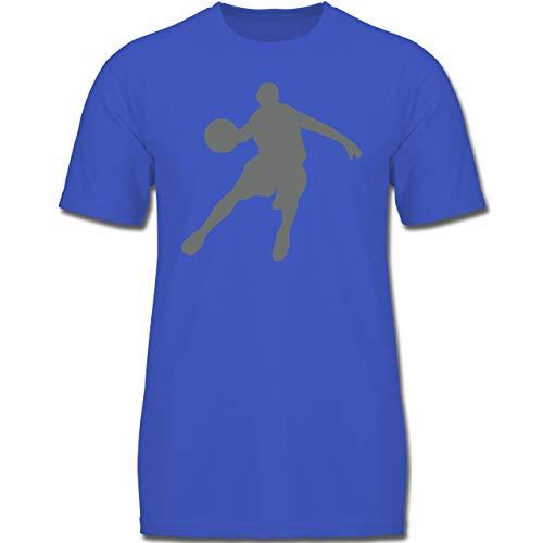 Sport Kind - Basketballspieler - 128 (7-8 Jahre) - Royalblau - F130K - Jungen Kinder T-Shirt