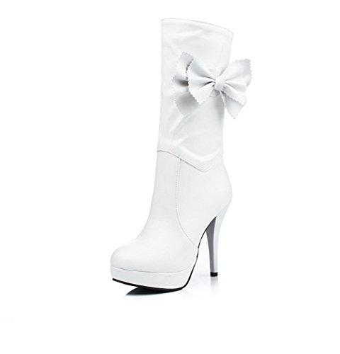 AllhqFashion Damen Rein Pu Leder Hoher Absatz Ziehen Auf Rund Zehe Stiefel Weiß