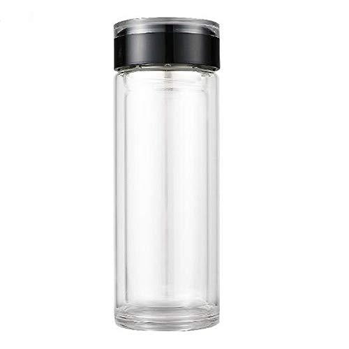 Wyl borraccia alta in vetro borosilicato con doppio tè filtrante resistente al calore,black