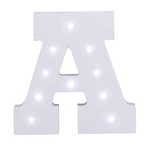 Dekorative leuchtende Buchstaben,KINGCOO Lampe batteriebetrieben hölzerne Alphabet uchstaben Zeichen Lichter,Party Hochzeit Dekorationen,Dein Name in Lichter - weiß (A) (Lampe Hölzerne)