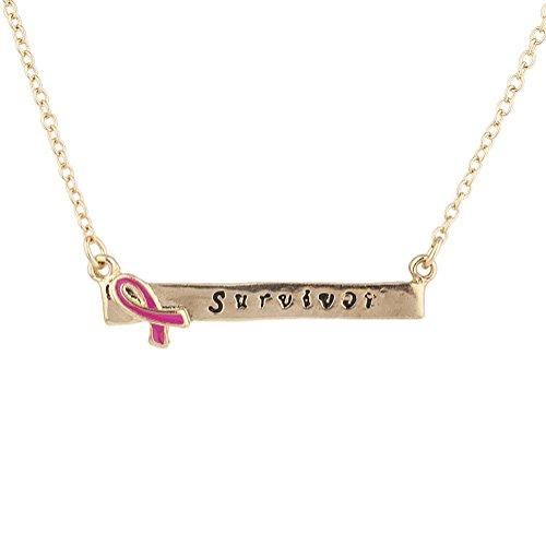 n Survivor Gravur Brustkrebs Bewusstsein Bar Halskette ()