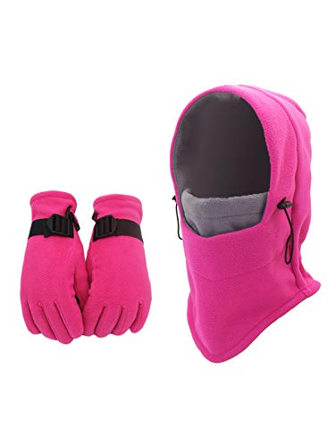 WANYING Multifunktion Polar-Fleece Balaclava Mütze & Handschuhe Set, Sturmhaube Gesichtshaube Skimaske für Herbst Winter Outdoor Sports - Rosa & Grau