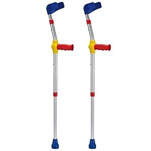 Pflegehome24® Kinder-Unterarmgehstützen Krücken 1 Paar Gehhilfen Leichtmetall mit Reflektoren, BUNT