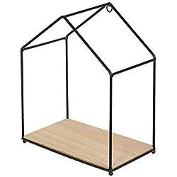 THE HOME DECO FACTORY HD4572 Set de 3 Etagères Forme Maison, Bois + Metal, Beige-Noir, 23x27x13 cm