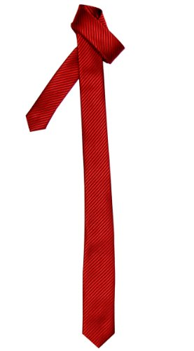 Retreez Corbata fina para hombres con textura de rayas Rojo