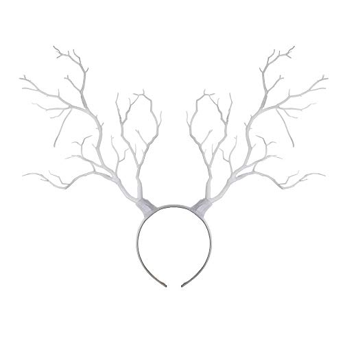 usmley Christmas Halloween Cosplay Headband Tree Branches Antlers Head Ornaments (White)