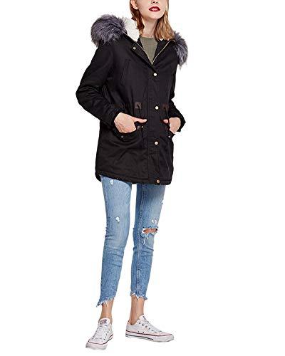Donna cappotto parka con pelliccia cappuccio lungo allineato pelliccia piumino imbottito giubbino femminile invernali nero l