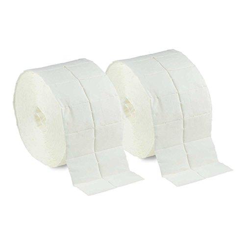 N&BF 1000 Zelletten Tupfer (2 Rollen à 500 Stück) - Zellstofftupfer - fusselfreie Cellulose Pads/Swaps 12-lagig unsteril für Cleaner Remover Nagel Gel-Nägel Nageldesign Maniküre -