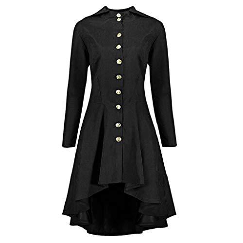 Damen Herbst Elegant Gothic Mäntel Kleider Lace Up Kapuzenmantel Trenchcoat Lang Hoodie Asymmetrisch Button-down Jacke Windbreaker Lang Gotischer Gehrock Uniform Kostümparty Outwear Oversize Rovinci (Herbst Kostüm)