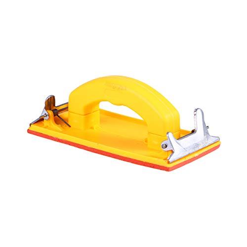 BESTOMZ Handgriff Schleifpapierhalter Schleifpapier Griff aus Kunststoff Handschleifpapier Rahmen Poliert Werkzeuge für Wände Schreinerwerkzeuge Schleifwerkzeug Schleifmittel (gelb)