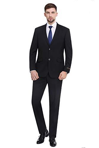 P&L Herren Premium Slim Fit 2-teiliger Anzug Blazer Jacke & Flache Hose Set - Schwarz - 52 Lange/ 36W -