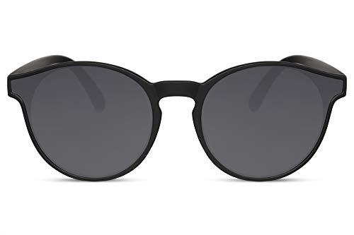 Cheapass Sonnenbrille Schwarz Runder Stil Matt-Transparent mit speziell geformten Gläsern 100% UV400 Schutz für Männer und Frauen