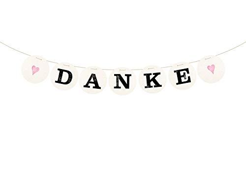 renna deluxe Danke Girlande Rosa für die Hochzeit Vintage Hochzeitsgirlande für Hochzeit-Shooting Dekoration Hochzeitsdeko Geschenketisch