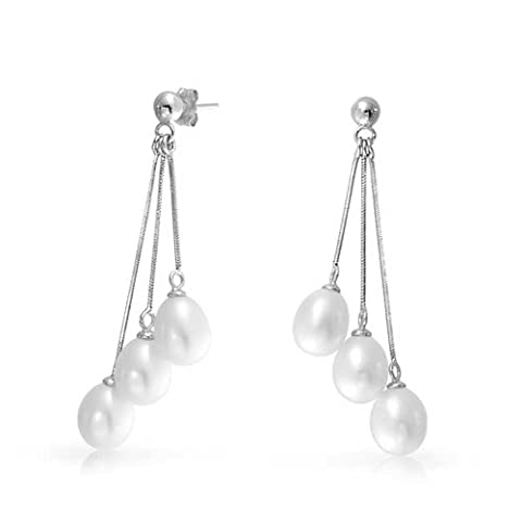 Sterling Silver Multi Strand Freshwater Cultured Pearl Dangle Earrings