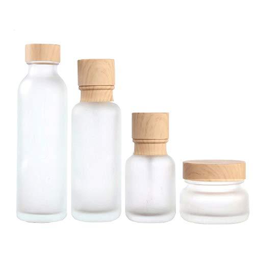 Milchglasflasche,Flüssigkeitsbehälter,Geeignet für Shampoo Lotion Cream Kosmetik etc,kann als Reiseflaschenset Verwendet Werden und Ist Auch für Den Hausgebrauch Geeignet,4 Verschiedenen Größen -