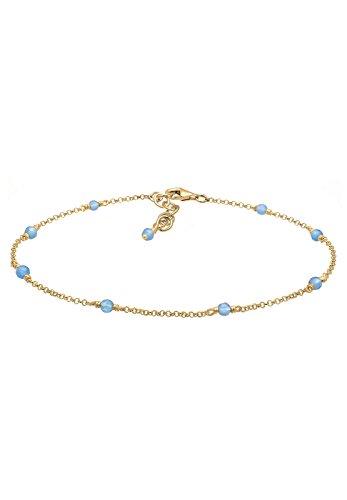 Elli Damen-Fußkettchen Silber vergoldet Achat 0702880618_22 - 22cm Länge