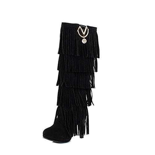 Womens Winter Overknee Stiefel Schuhe Wildleder Fransen Europäische Womens Kniehohe Stiefel Lange Stiefel für Frauen