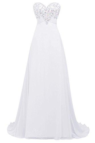 Bbonlinedress Robe de cérémonie Robe de soirée emperlée forme empire bustier en cœur longueur ras du sol Blanc