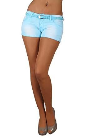 5823 Fashion4Young Damen Sexy Hotpants Short kurze Hose Jeans verfügbar in 5 Größen 7 Farben (XL = 42, Babyblau)