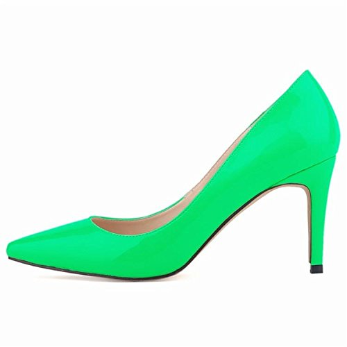 Femmes Pompes Talons hauts Fashion Pointed Toe Femmes Chaussures Talons Minces Pompes 10cm Talons hauts Chaussures Rouge Femme Green