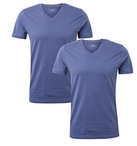 Denim-t-shirt Top (TOM TAILOR Denim T-Shirts/Tops T-Shirt mit V-Ausschnitt Coastal Fjord Blue, S)