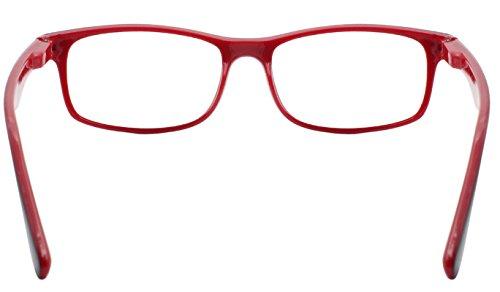 dde53b90c6 TBOC Gafas de Lectura Presbicia Vista Cansada – Graduadas +1.50 Dioptrías  Montura de Pasta Bicolor Roja y Negra Diseño Moda para Hombre Mujer Unisex  con ...