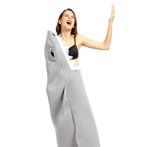ressender Hai Herrenkostuem Weisses Hai Herren Kostuem Bodysuit Playsuit Halloween Fasching (Weiße Halloween-kostüm Bodysuit)