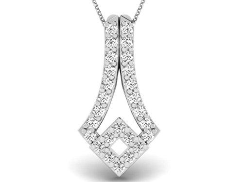 Or Blanc 9 ct Pendentifs Diamant , 0.05 Ct Diamant, GH-SI, 0.41 grammes.
