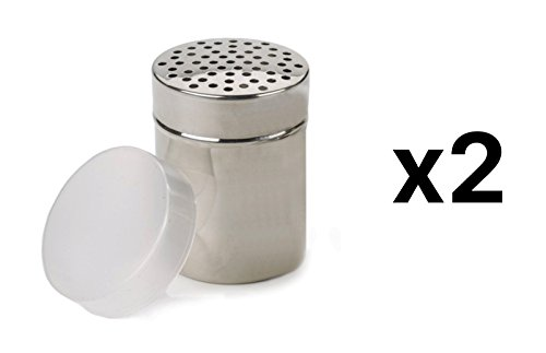 RSVP 18/8 Stainless Steel All Purpose Cheese/Coarse Salt/Pepper Shaker (2-Pack) - All Purpose Shaker
