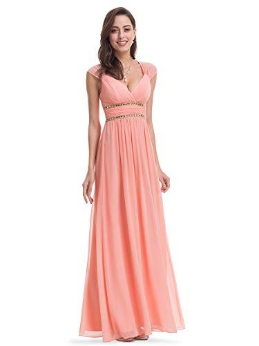 Ever-Pretty Damen Abendkleid A-Linie V Ausschnitt Brautjungfer rückenfrei lang 08697 -