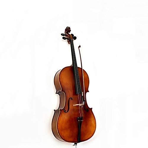 Miiliedy Matte Light Retro handgefertigte hölzerne Cello Anfänger Kinder Erwachsene üben Melodious Cello mit Fall Bogen Kolophonium Brücke Extra Set Saiten Cello Stand ( Color : Matte , Size : 1/2 ) -