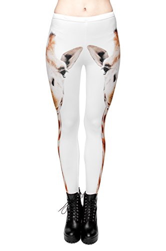 Femmes Mesdames Leggings Longueur complet extensible Collants Pantalon pour ne pas voir à travers Fitness Yoga Running Hipster UK 8 10 12 Multicolore - Girafe